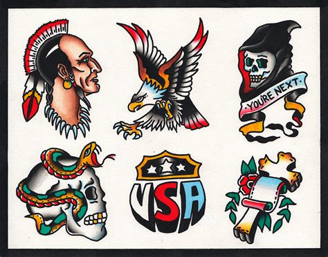tattoo flash native american native american eagle skull snake traditional by