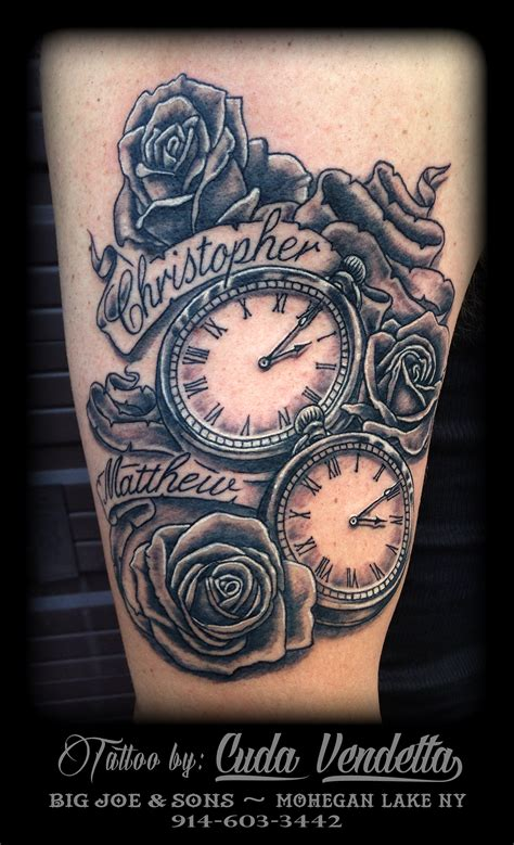 pocket watch and roses tattoo tattoos by cuda vendetta 2 pocket watches and roses big
