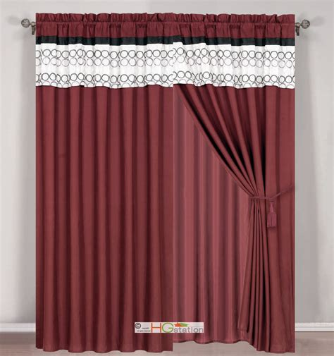 burgundy and black curtains 4 pc circle embroidery striped curtain set burgundy black