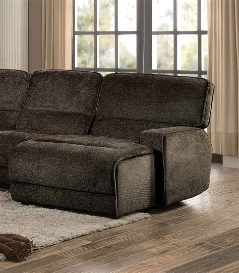 brown fabric reclining sectional homelegance shreveport reclining sectional set brown