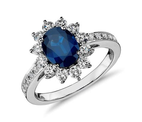 oval sapphire and halo ring in 18k white gold
