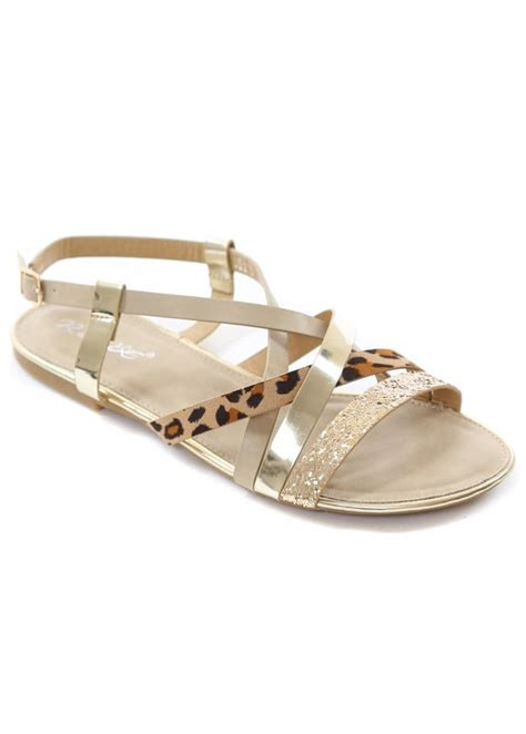 gold strappy flat sandals leopard print gold glitter strappy flat summer sandals