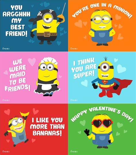 minion valentines day card 6 free printable minion valentines every despicable me fan