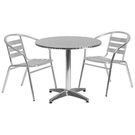 Patio Table 2 Chairs Chic Aluminum Outdoor Chairs 315 Aluminum Indoor Outdoor Table Set With 2 Slat Back