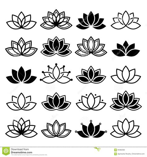 fiore designs lotus flower design set abstract collection stock