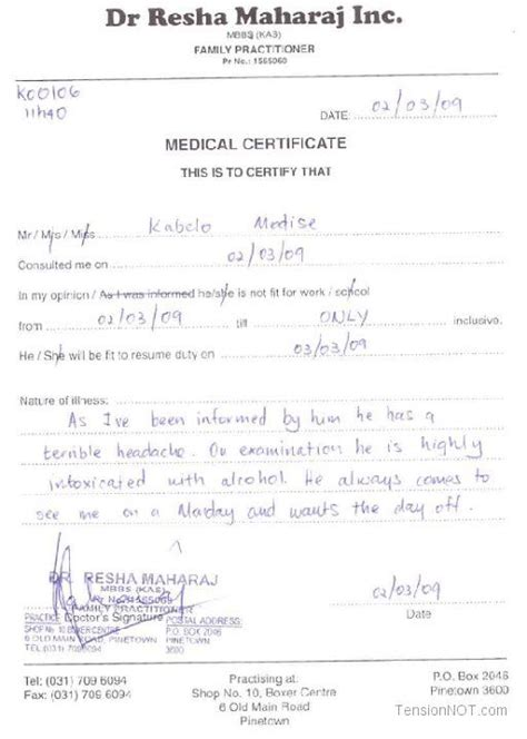 Fake Doctors Note Template Free Doctor Excuse Pdf Sick