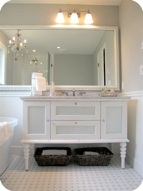 Bathroom Vanity Marble My House Of Giggles White And Grey Bathroom Renovation Makeover Marble Hex Tile Etc