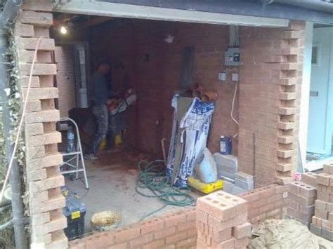 Detached Garage Design the toothing out of the brick work garage conversion and