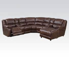 casual brown 7 reclining sectional sofa w storage