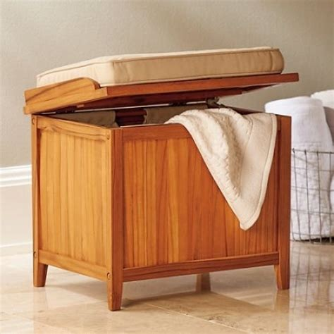 Her Bench With Cushion Teak Bathroom Storage Seating Storage Bench For Bathroom