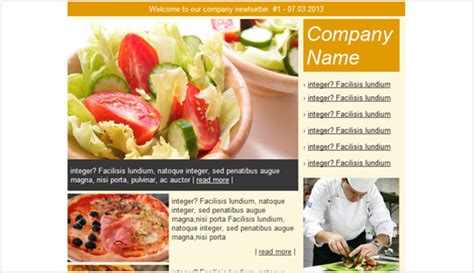 cafe restaurant email newsletter templates email