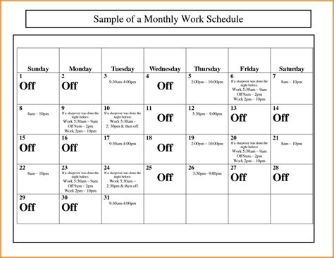 free work employee work calendars sle templates sle templates