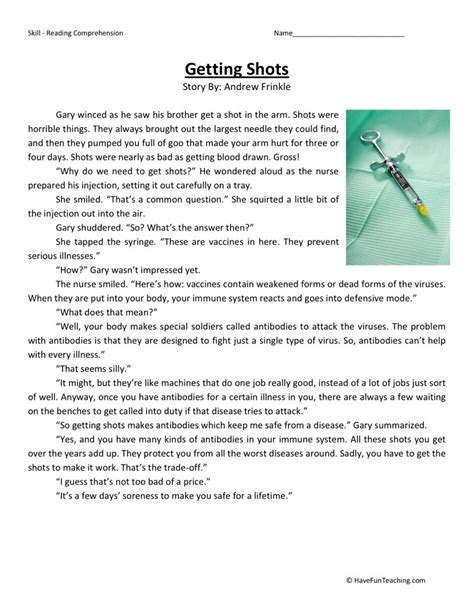 Fourth Grade Reading Worksheets by Reading Comprehension Worksheet Getting