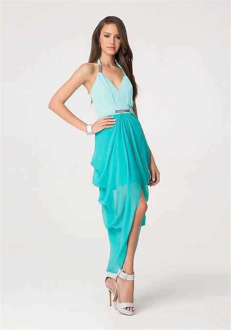 Sale Dress Bebe Halter 1 2 tone silk halter dress bebe