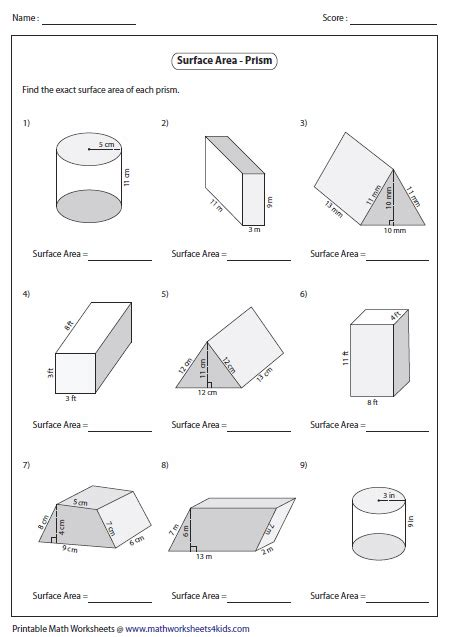 Surface Area Of A Rectangular Prism Worksheet
