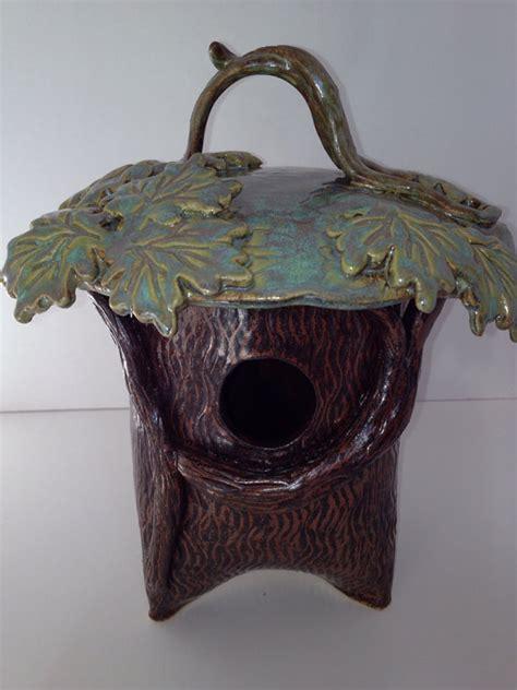 Ceramic Birdhouses Handmade - items similar to maple tree ceramic birdhouse made