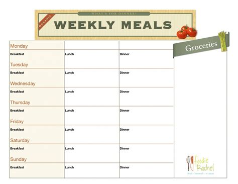 printable meal planner chart 5 best images of free printable blank meal plan chart