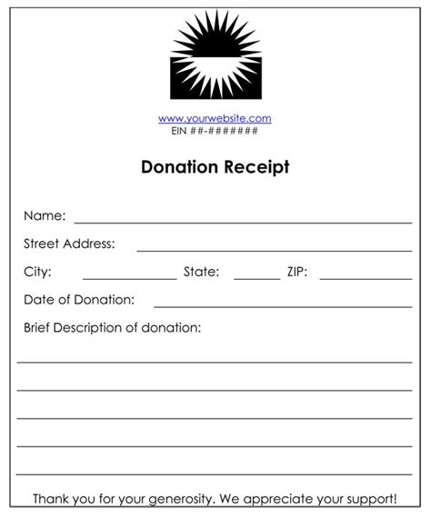 charity donation receipt template non profit donation receipt