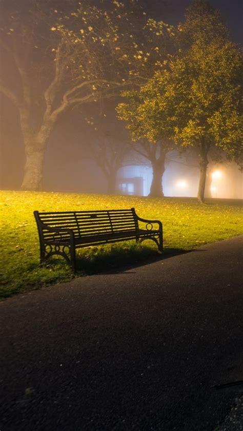 wallpaper park night road bench trees fog