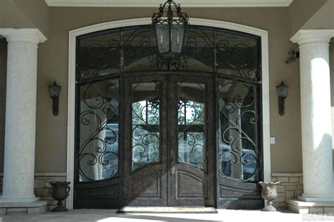 Large Front Doors For Homes Large Antique Glass Front Doors With Black Iron