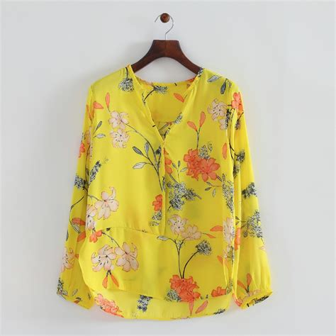 Flower Blouse fashion yellow flower pullover blouse v neck sleeve casual top 313527 in