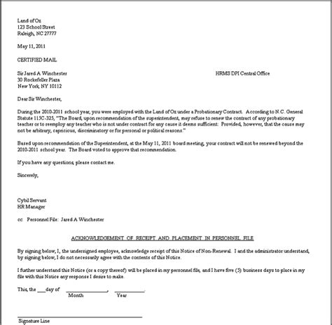 Letter Of Intent To Renew Employment Contract Sle Non Renewal Notice Free Printable Documents