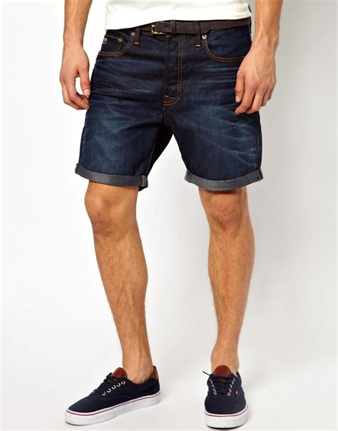 denim shorts lyst g g denim shorts 3301 fit aged in blue for