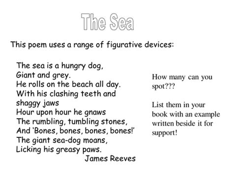 Poem With Figures Of Speech Sle ks3 poetry the sea figurative language by johncallaghan