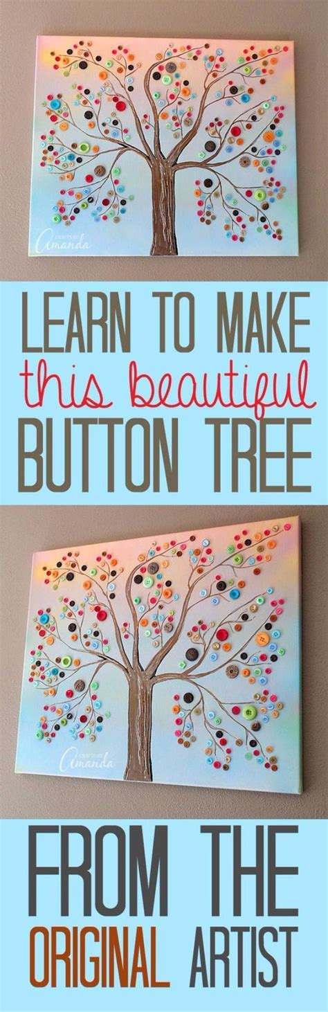 diy projects canvas best 25 button tree canvas ideas on button