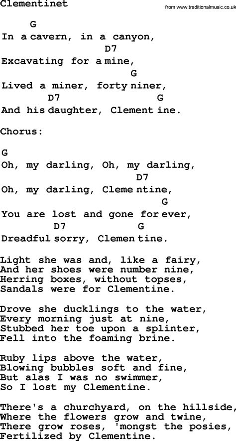 clementine lyrics top 1000 folk and time songs collection clementine