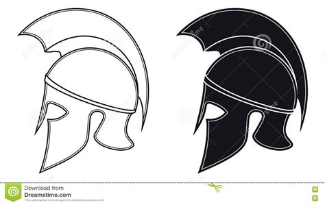 Soldier Helmet Outline by Black And White Vector Illustration Of A Side Silhouette On Anci Stock Vector Illustration Of