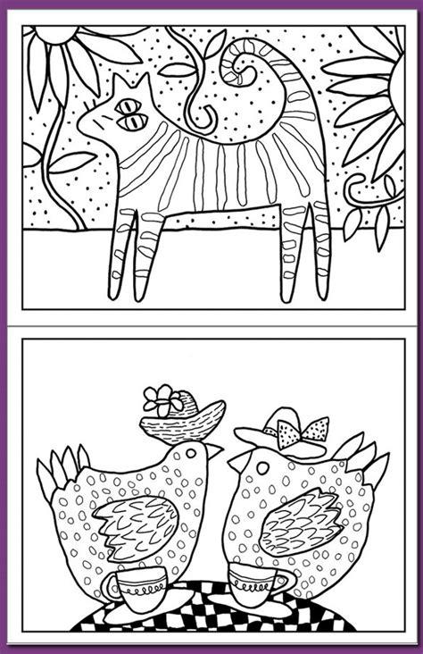 folk art gabriella denton coloring book