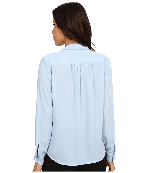 tie neck sleeve shirt vince camuto sleeve tie neck wrap blouse in blue lyst