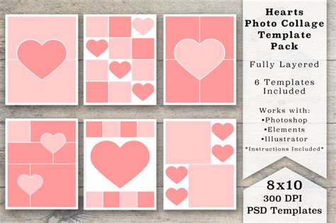 8x10 Heart Photo Collage Templates Templates On Creative Market 8x10 Photoshop Template