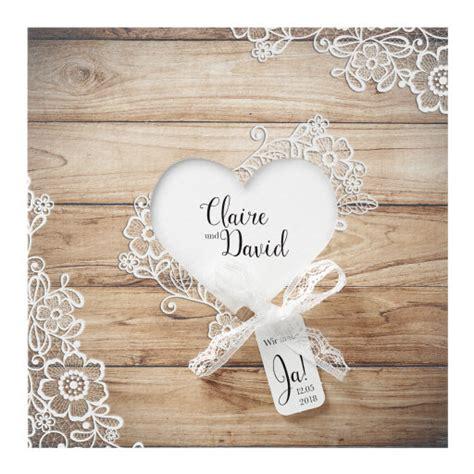 Hochzeitseinladungen Holzdesign by Hochzeitseinladung Quot Quot Vintage In Holzoptik Mit Spitze