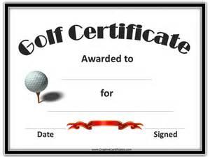 Golf Certificate Template by Golf Awards