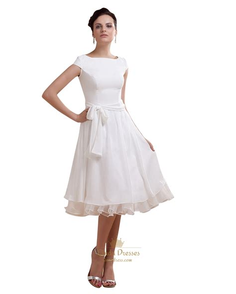simple tea length wedding dresses simple tea length chiffon cap sleeve wedding