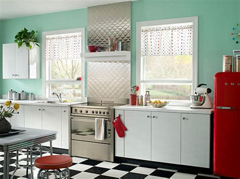 Nostalgic Kitchen Decor by Metal Backsplash And Canisters In A Retro Kitchen Decoist