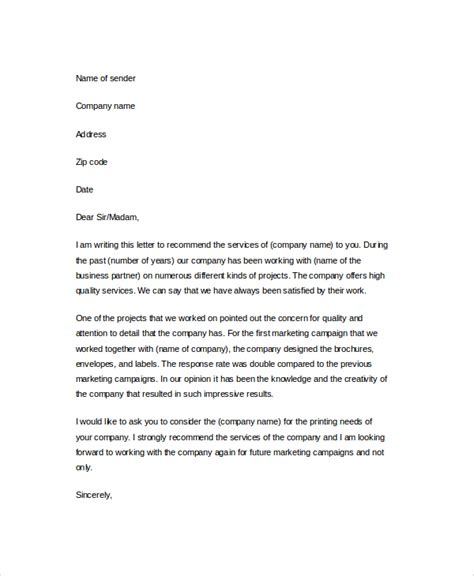 Business Reference Letter Template Free Sle Business Reference Letter 4 Documents In Pdf Word