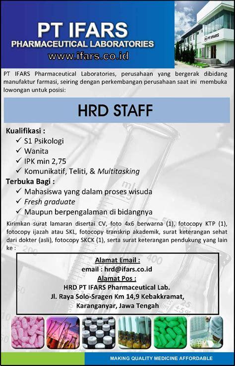 lowongan kerja pt ifars pharmaceutical laboratories