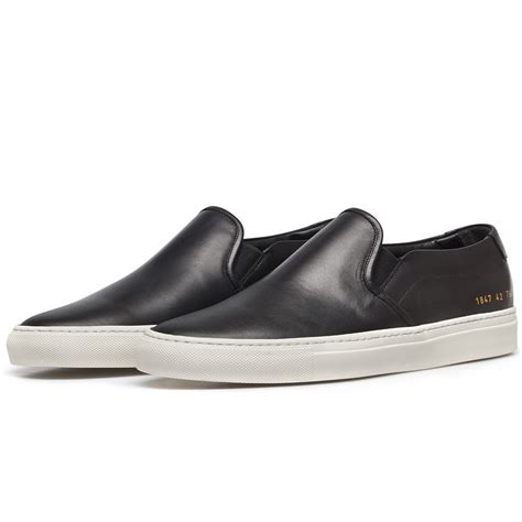 mens leather slip on sneakers common projects black leather slip on sneakers in black