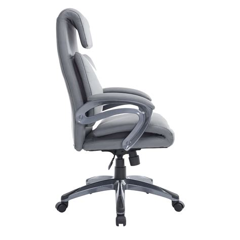 gray leather executive office chair homcom race car style pu leather heated massaging office