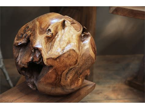 Unique Glass Vase Sculpture Boule Racine De Teck 216 40 Cm Tendance Meubles