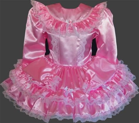 sissy baby in satin dress long sleeve custom fit satin adult baby sissy little