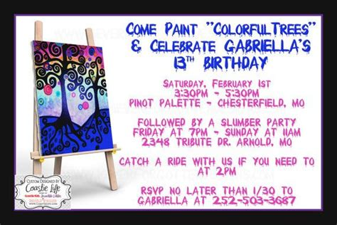 paint nite invite painting invitation for out and birthday