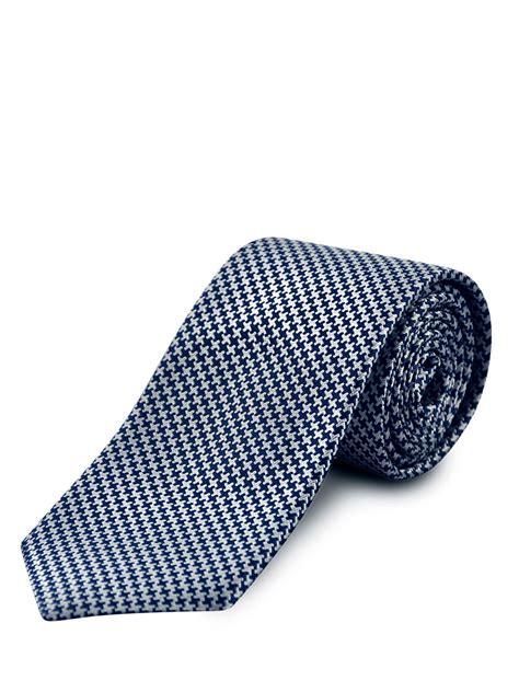 Creme Navy navy houndstooth silk tie