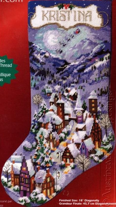 rare rossi snowy winter village needlepoint christmas stocking kit