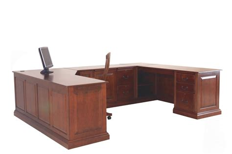 fascinating brown u shaped modern office desk design ideas