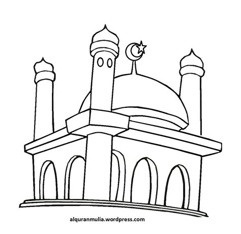 sketsa mewarnai masjid dunia putra putri
