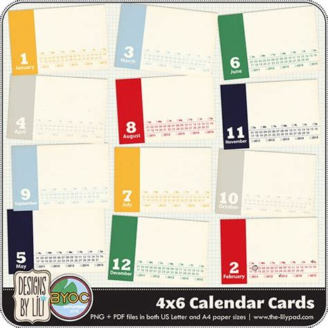 4x6 calendar cards project life pinterest project